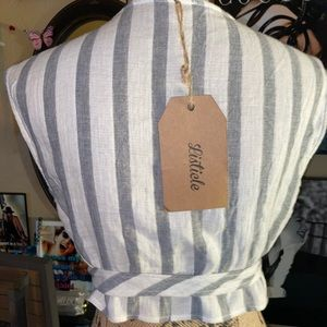 Listicle Tops - NWT- Gray & White Striped Side Tie Deep V Crop Top